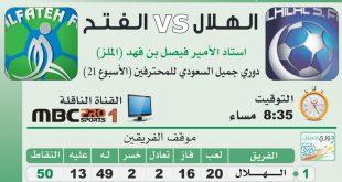 يلا شوت مباراة الهلال والفتح بث مباشر اليوم 9-3-2017 اللقاء المصيري للزعيم لحسم الدوري السعودي لهذا العام