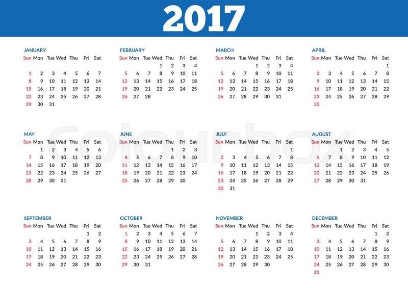 تقويم 2017 ميلادي جاهز للطباعة ، التقويم ...