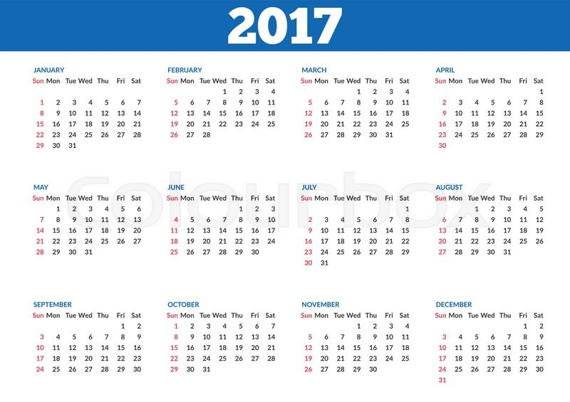 تقويم 2017 ميلادي جاهز للطباعة ، التقويم الميلادي 2017